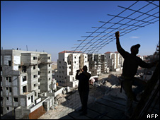 Builders at Maale Adumim settlement in the West Bank, November 2009
