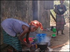 Liberian woman cooking