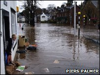 A flooded Appleby-in-Westmorland.