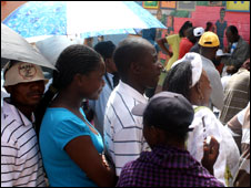 Voters queuing in Namibia