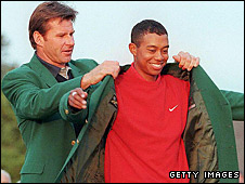 Tiger Woods received his first Masters Green Jacket from Nick Faldo in 1997