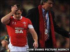 A devastated Shane Williams is led off after just five minutes