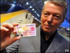 Home Secretary Alan Johnson with his newly issued National Identity Card
