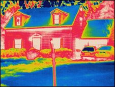 Thermogram of house. Pic by Science Photo Library