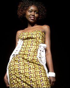 model wearing Kenyan designer dress