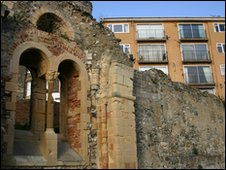 Rremains of a Saxon church known as the 'tidy ruin'
