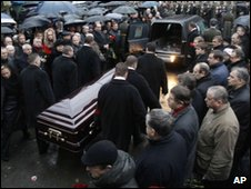 Mourners at the funeral of Boris Yevstratikov