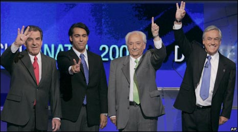 Poll rivals (left to right): Eduardo Frei, Marco Enriquez-Ominami, Jorge Arrate and Sebastian Pinera