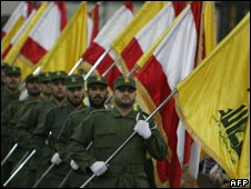 Hezbollah fighters on parade, November 2009