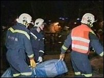 Emergency services remove victims from the Perm nightclub