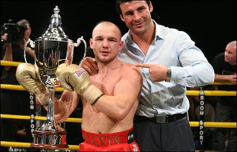Joe Calzaghe congratulates Gavin Rees on his win in the Prizefighter tournament