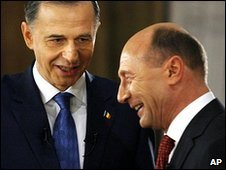 Mircea Geoana, left, and Traian Basescu 3.12.09