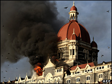 Taj Mahal Palace, Mumbai, on fire