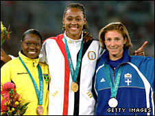 Tanya Lawrence, Marion Jones and Katerina Thanou