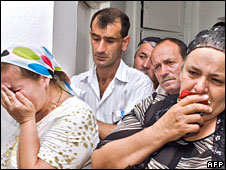 Archive photo of relatives of victims of a massacre in Chechnya over which the European Court of Human Rights found Russia repsonsible