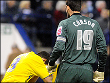 Michael Chopra reels after an alleged head-butt by Scott Carson