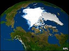 Arctic ice extent 2008