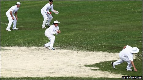 England's fielders had to negotiate huge expanses of sawdust