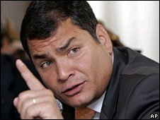 Ecuador President Rafael Correa in file photo from 2008