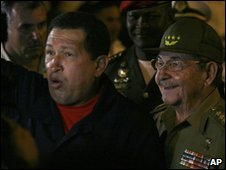 Raul Castro and Hugo Chavez