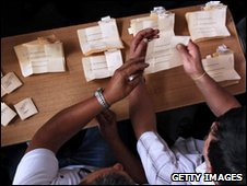 Officials count the votes in Santiago