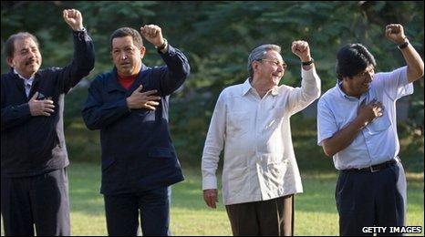 The Presidents of Nicaragua, Venezuela, Cuba, Bolivia