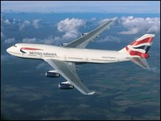 British Airways plane in flight