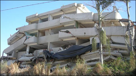 Collapsed building in Los Corales, Varges, Venezuela