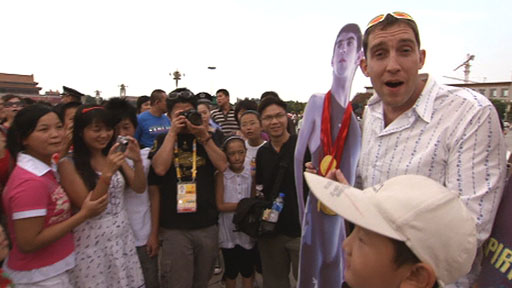 Steve Parry with 'fans' in Tiananmen Square