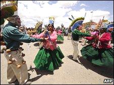 Aymara celebrate President Evo Morales' birthday