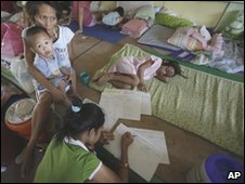 Evacuated children in a classroom of a school in Legazpi city, Albay province, 17 December, 2009