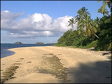 Beach on Fafa Island in Tonga