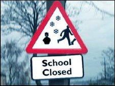School closure sign