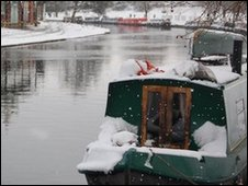 Snow on the River Cam in Cambridge at Midsummer Common