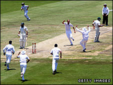 England celebrate the wicket of Kallis