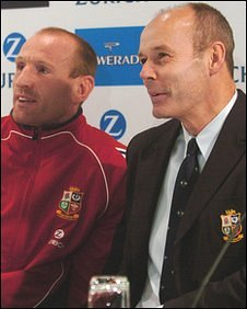 Gareth Thomas (left) and Sir Clive Woodward at a media conference to announce Thomas as Lions captain in 2005