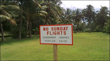 No Sunday Flights sign