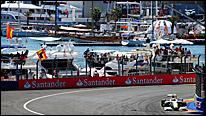 Rubens Barrichello's Brawn on its way to victory at the 2009 European Grand Prix at Valencia