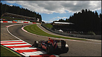 Mark Webber's Red Bull plunges through Eau Rouge and up towards Raidillon at the 2009 Belgian Grand Prix