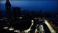 The Singapore skyline as night falls over the Marina Bay circuit