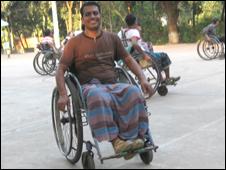 Bangladeshi people in wheelchairs playing basketball
