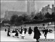 Skating on the frozen River Severn in 1885