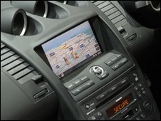 sat-nav in car