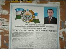 Election campaign poster in Uzbekistan