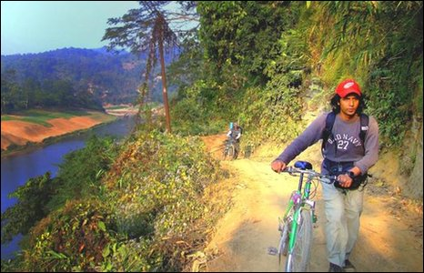 Mountain bikers in the Chittagong Hill Tracts