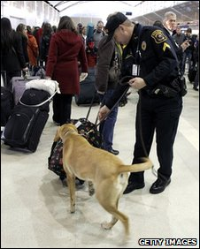A sniffer dog and handler inspect luggage at Detroit Metropolitan airport
