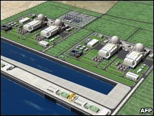 An illustration of nuclear power plants to be built by the consortium