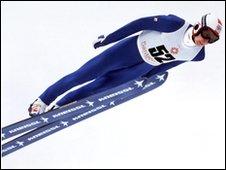 Matti Nykanen performing in the Winter Olympics in Sarajevo, February 1984
