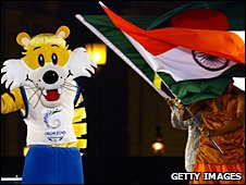 Shera, mascot of the 2010 Commonwealth Games, and Indian flag