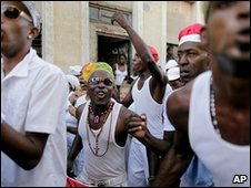 Followers of Santeria in Santiago, Cuba (4.12.09)